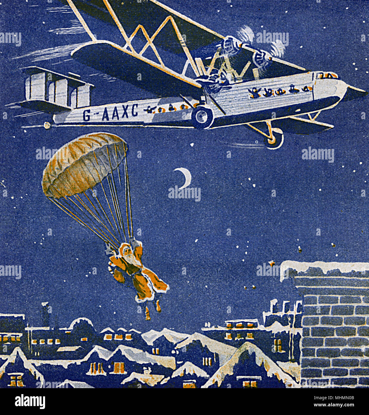 Father Christmas jumps out of an aeroplane using a parachute onto snowy rooftops. Who needs reindeer to deliver presents in the modern age?     Date: 1932 - Stock Image