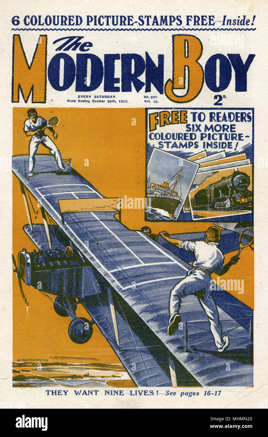Front cover of The Modern Boy featuring an illustration of two men playing tennis on the wings of a plane mid-flight.     Date: 1932 - Stock Image