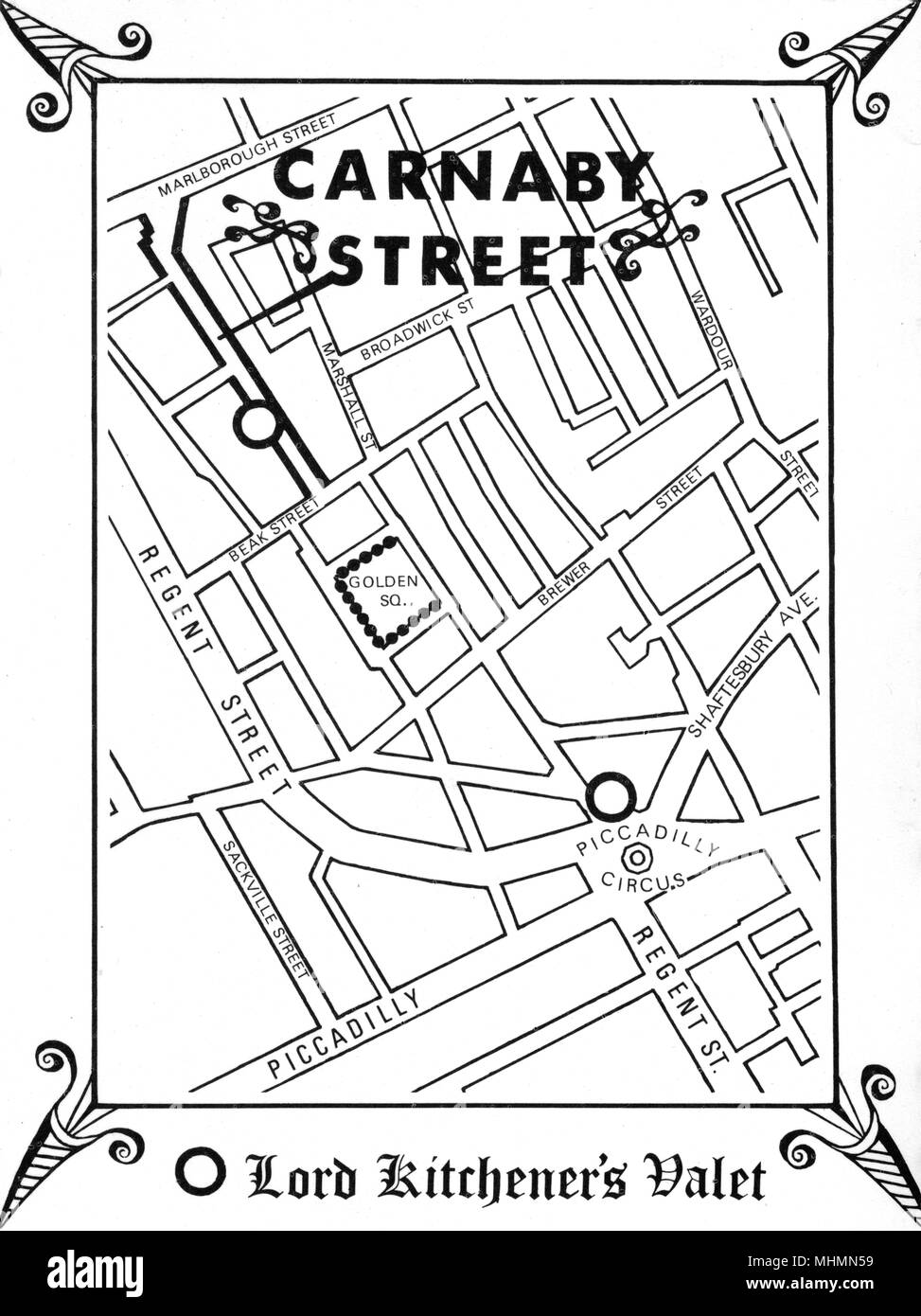 Map of showing the location of epicentre of sixties cool, Carnaby Street, in central London, as directed by one of the leading male boutiques, Lord Kitchener's Valet.       Date: 1966 - Stock Image