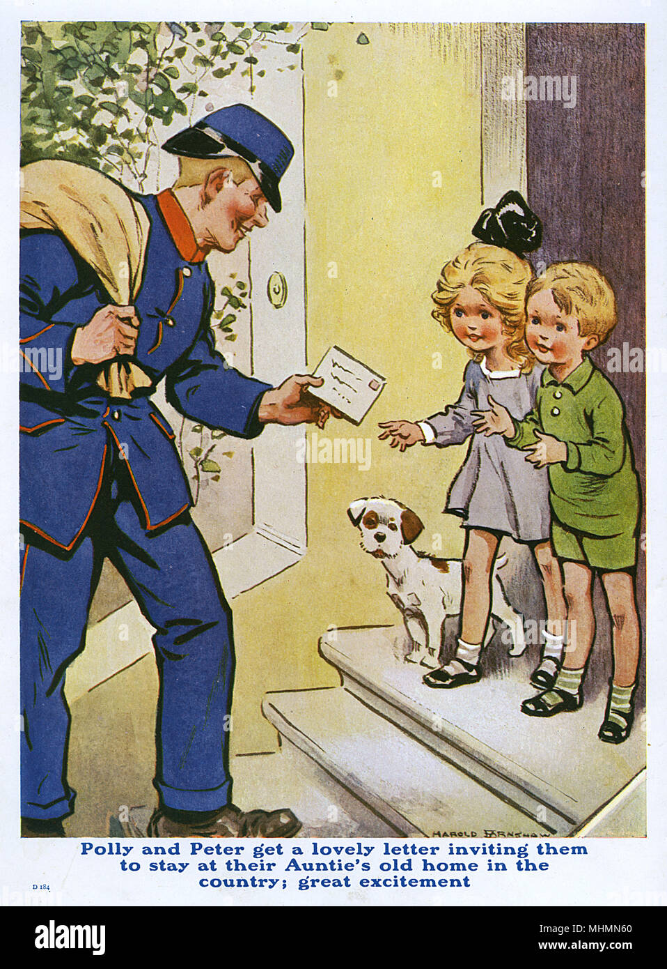 A postman delivers a letter to two children and their dog.     Date: c.1920 - Stock Image