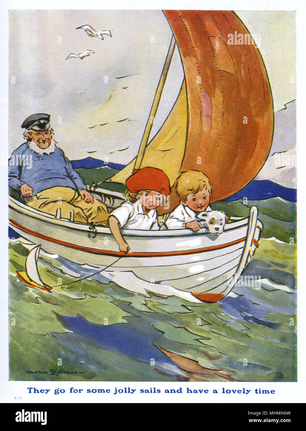 Two children and their dog go for a bracing ride in a sailing boat accompanied by a jolly old sea salt.     Date: c.1920 - Stock Image