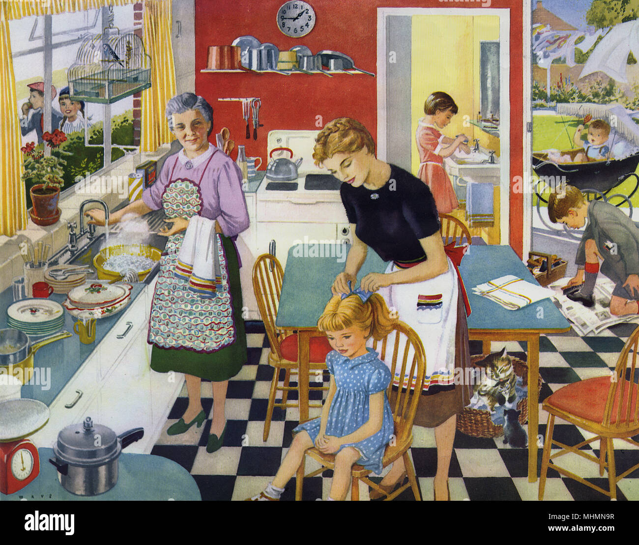 Idyllic domestic scene inside a family kitchen.  Older children are getting ready for school and while one daughter of the house sits and has her hair brushed by mother, another conscientiously washes her hands in a downstairs bathroom.  Son of the house, smart in his school uniform, dutifully polishes his shoes and a chubby baby is already out in the garden in a pram, cheerfully shaking a rattle.  Grandma does the washing up and even the cat tends to her kittens in a basket underneath the table.  No sign of a patriarchal presence but presumably he's the sole breadwinner and has already gone o - Stock Image
