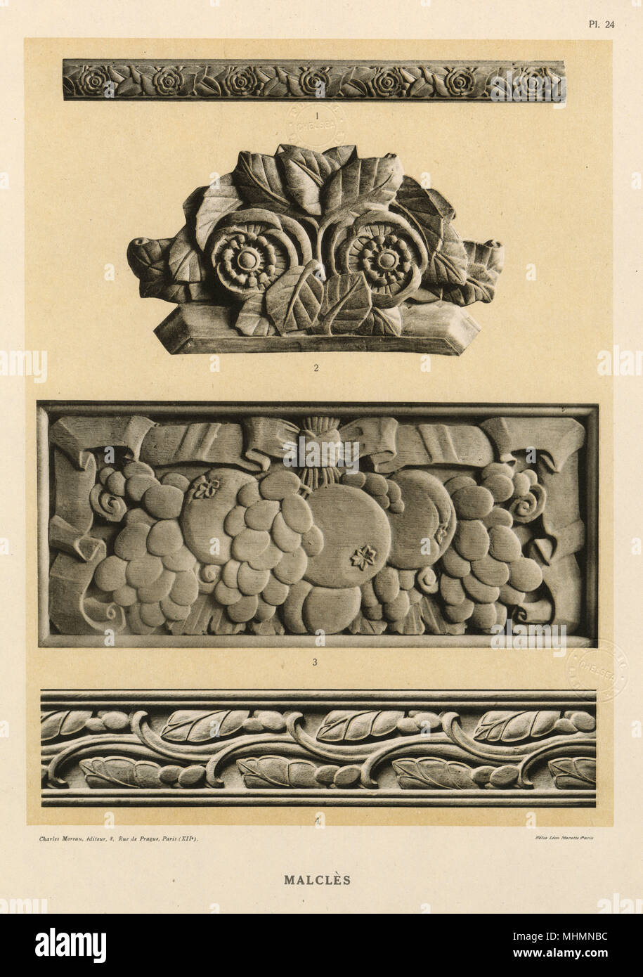 Bas-relief carvings by Laurent Malcles (dates unknown) - bold carving details featuring fruit and flowers - strong and stylised. - Stock Image