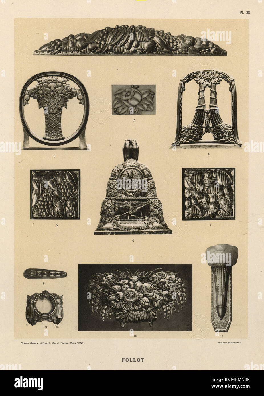 Examples Of Bas Relief Sculpture By Paul Follot (1877 1941) Including  Decorative Chair Backs, Inserts For Furniture And A Clock Surround. Date:  Circa 1920