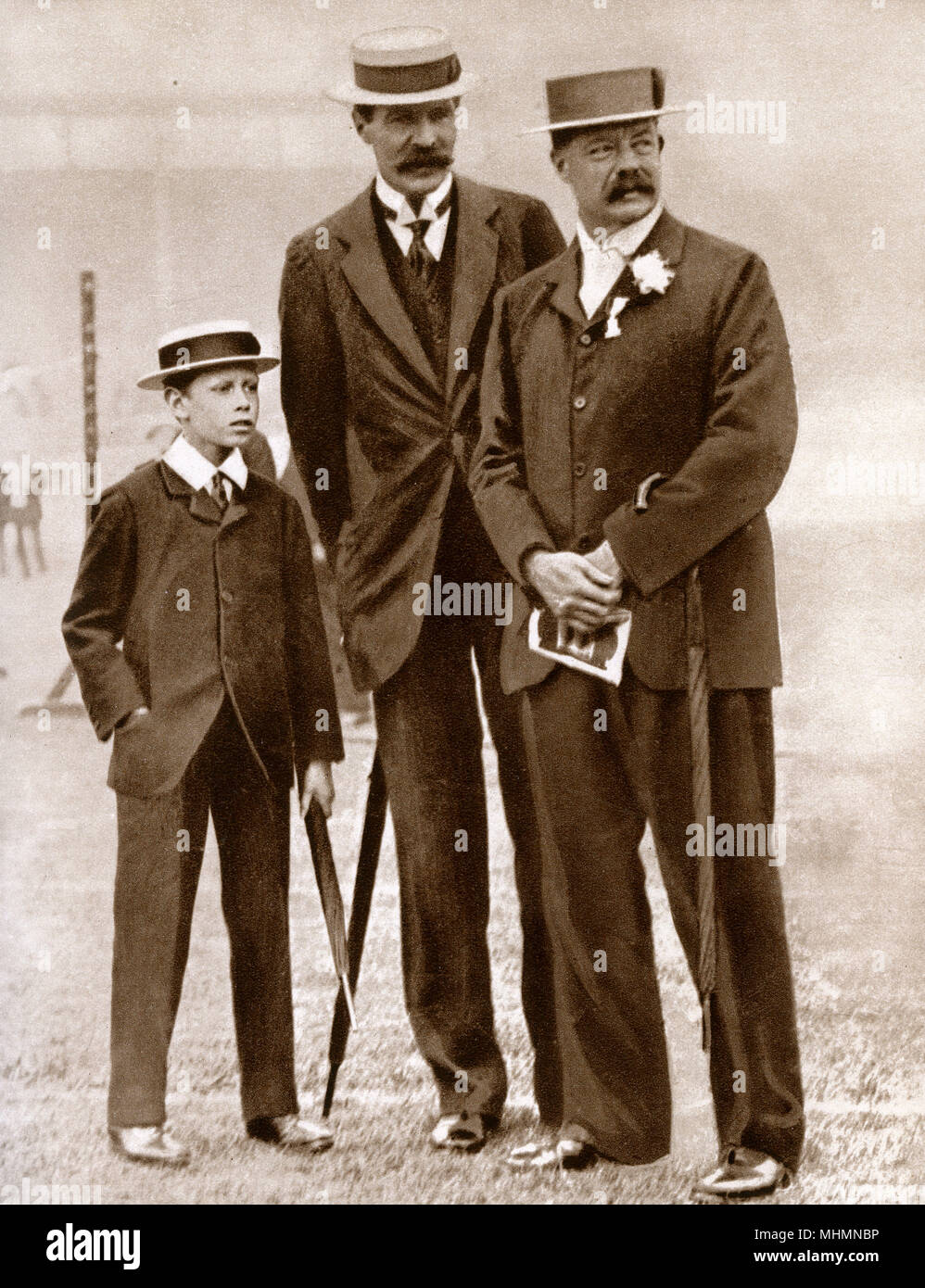 Prince Albert, Duke of York (1895-1952) (later King George VI) - his tutor Mr H. P. Hansell - William Grenfell, 1st Baron Desborough (1855-1945) - pictures at the Amateur Athletics Association meeting in London in 1908.     Date: 1908 - Stock Image