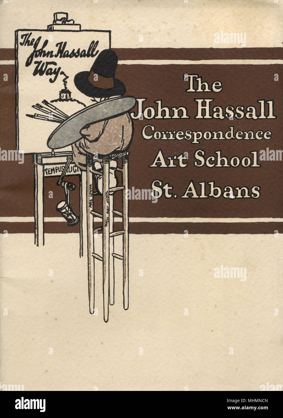 Front cover of a brochure for The John Hassall Correspondence Art School.  Hassall was a leading illustrator and poster artist who established an art school in Kensington in the 1900s.  It closed during the First World War but re-emerged as a correspondence school, based in St. Albans.  Frequently advertised in magazines during the Great War promoting illustration as not only a way to earn some money, but as a relaxing pastime, especially for serving soldiers.       Date: c.1920 - Stock Image