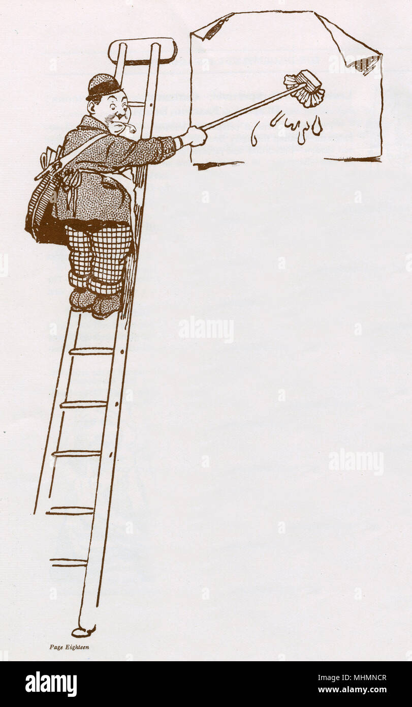 A man up a ladder posts a poster; illustration accompanying a section in the John Hassall Correspondence Art School brochure explaining about its poster course.  Hassall, a leading illustrator of the early 20th century was best known for his poster designs, including his famous 'Skegness is SO Bracing' poster featuring the Jolly Fisherman.  He was known as 'the Poster King'.       Date: c.1920 - Stock Image