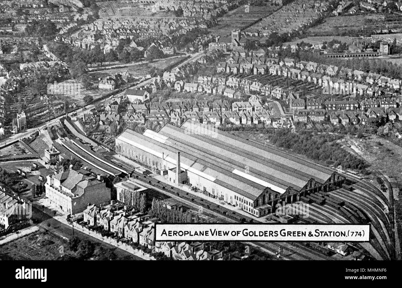 Aerial view, Golders Green and Station, NW London.     Date: circa 1910s Stock Photo