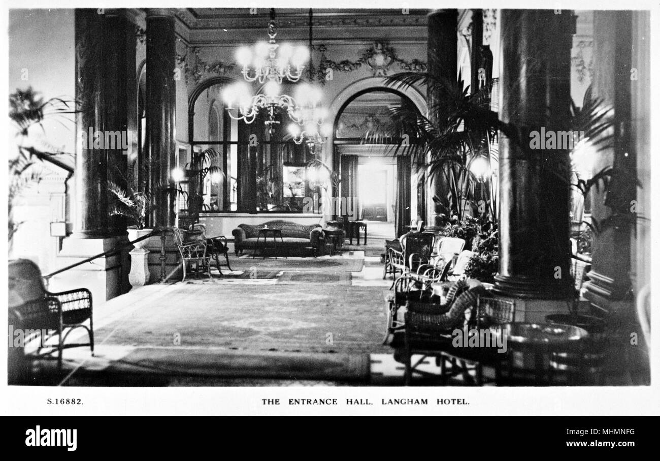 Entrance Hall, Langham Hotel, Portland Place, London W1.     Date: circa 1920s - Stock Image