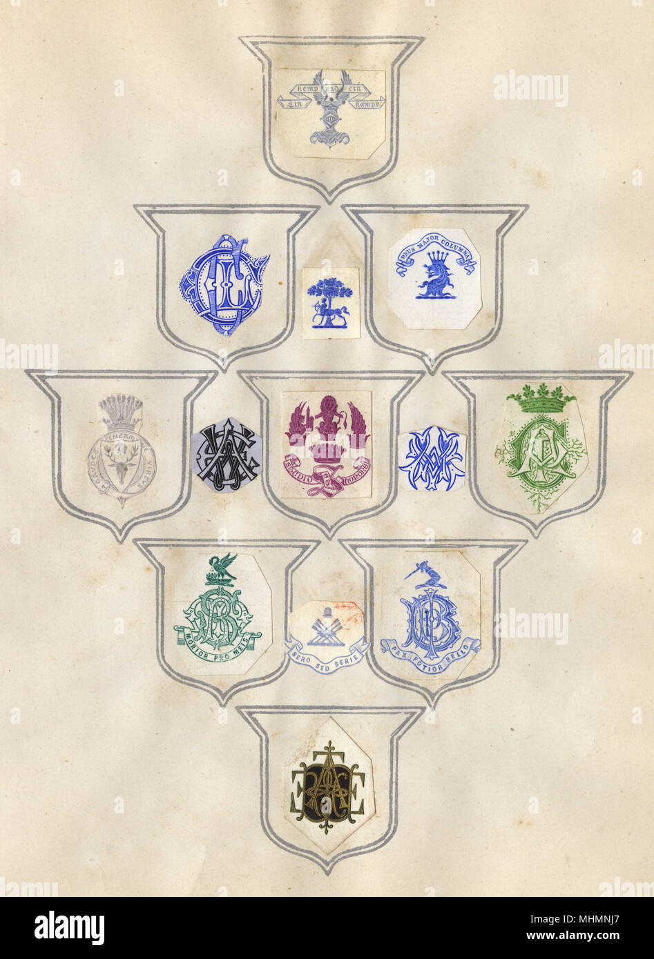 Loose page from a former scrapbook of crests and heraldry featuring family crests, coats of arms and many devices, shields, monograms and mottos!     Date: late 19th century - Stock Image
