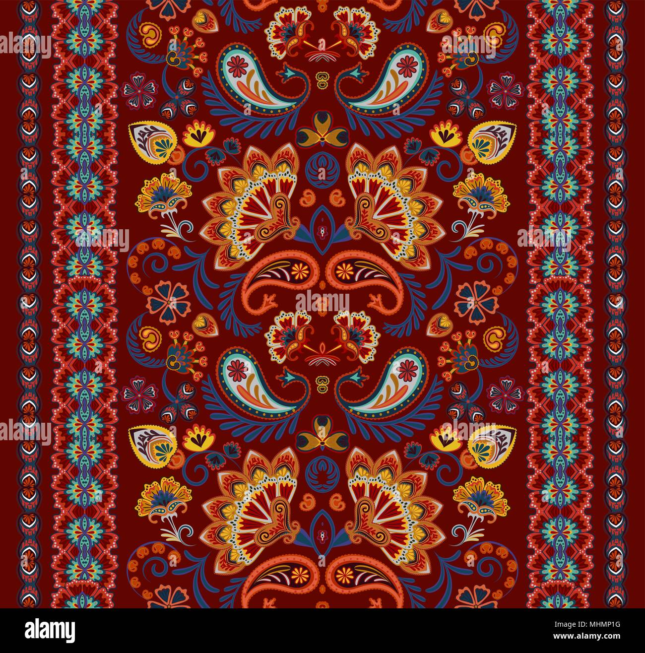 Indian Seamless Pattern Wallpaper With Paisley Ethnic