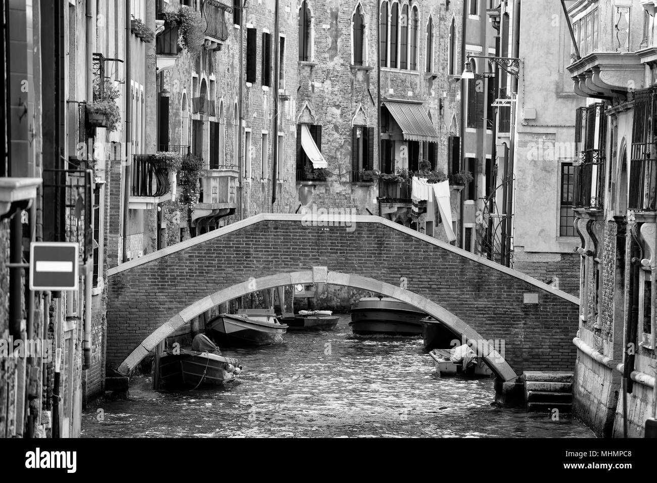 venice canals view in black and white - Stock Image