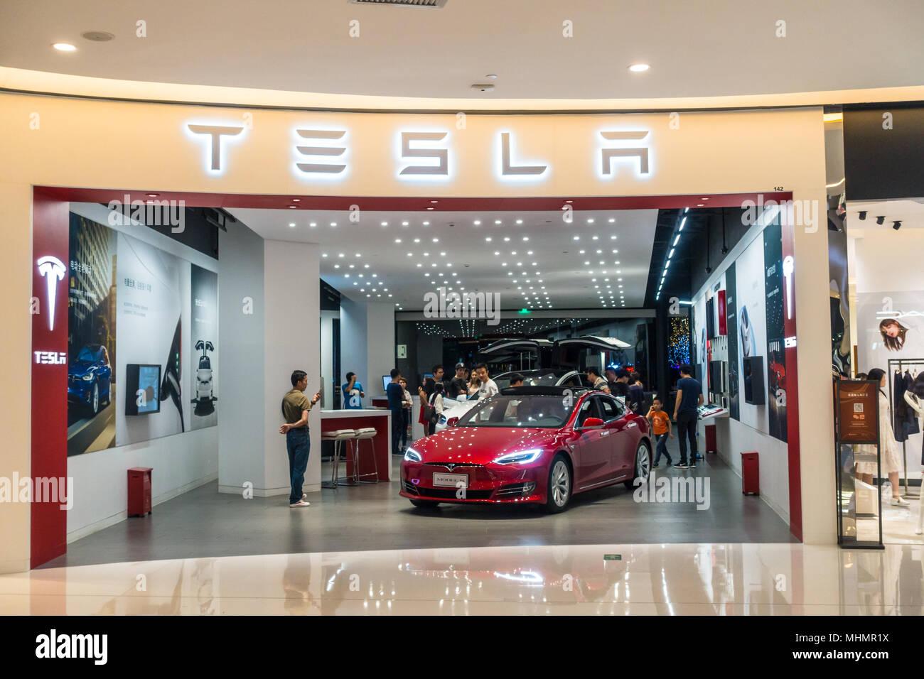 Tesla car dealer in Shenzhen, China - Stock Image