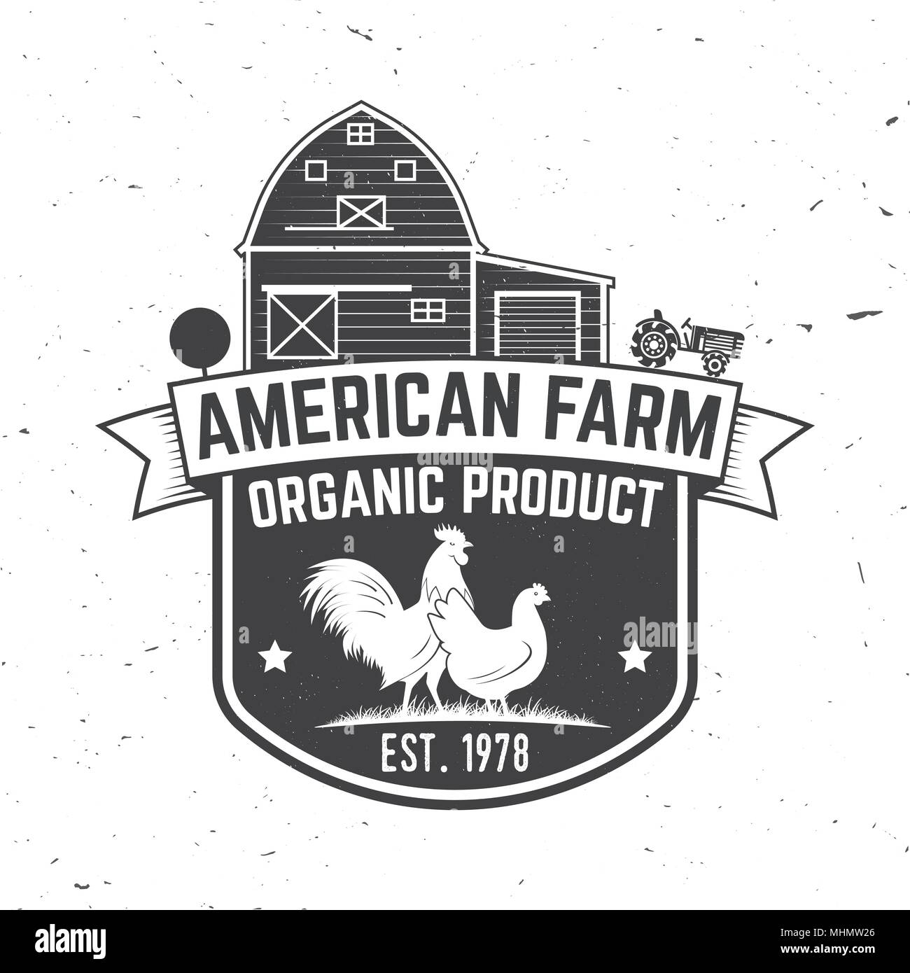 American Farm Badge or Label. Vector illustration. Vintage typography design with chickens silhouette. Elements on the theme of the chicken farming business. Farm insignia and patches isolated on white - Stock Vector