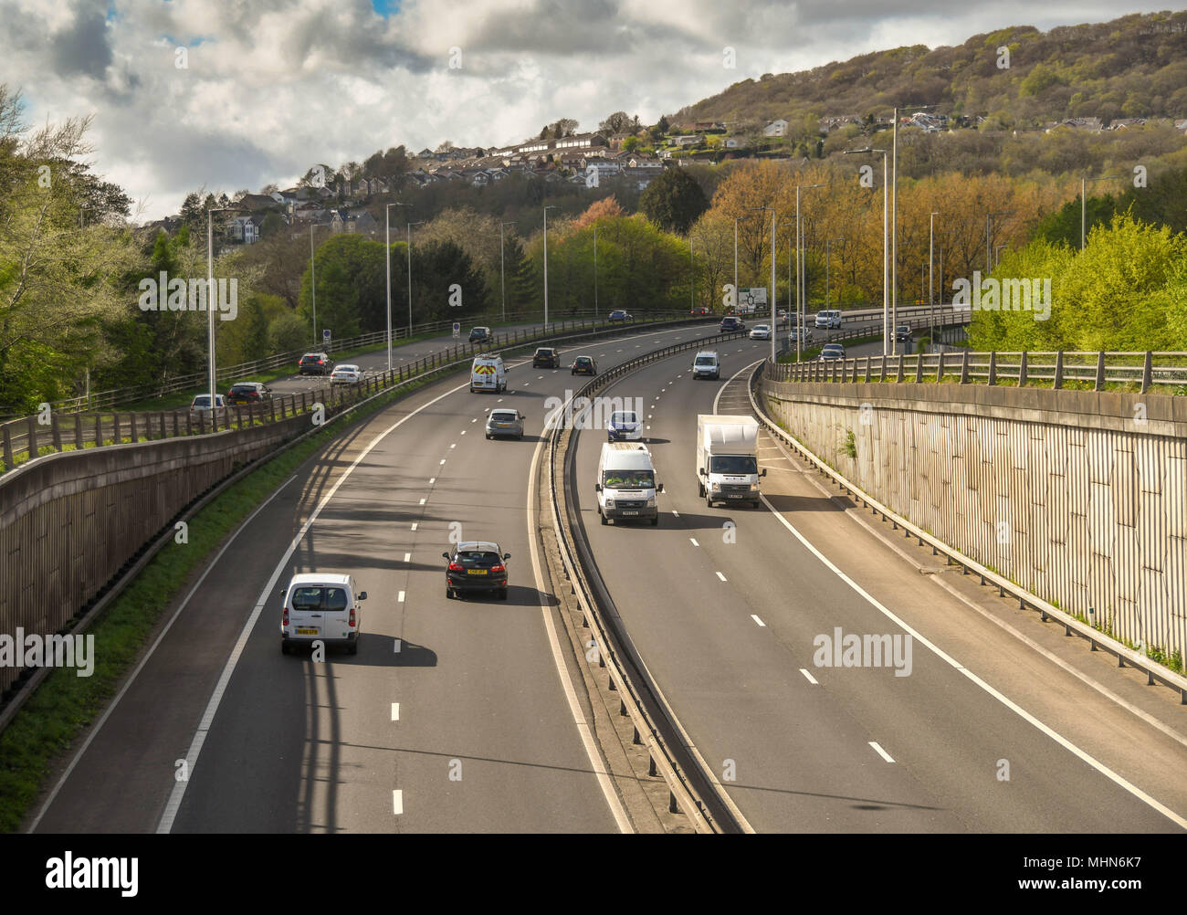 Traffic on the A470 trunk road at Pontypridd - Stock Image