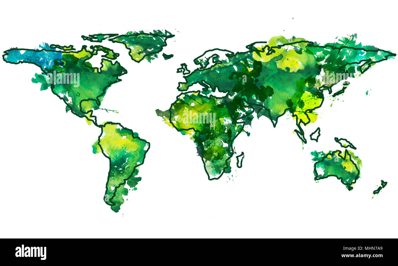 2d hand drawn illustration of world map. Green yellow splash ...