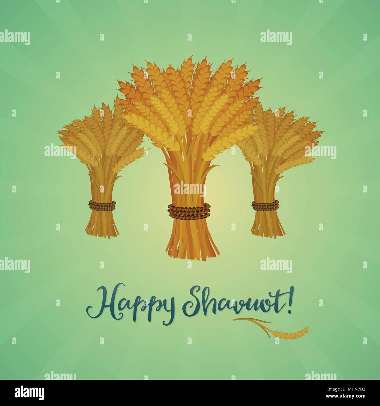 Jewish Holiday Greeting Card Sheaves Of Wheat With Greeting
