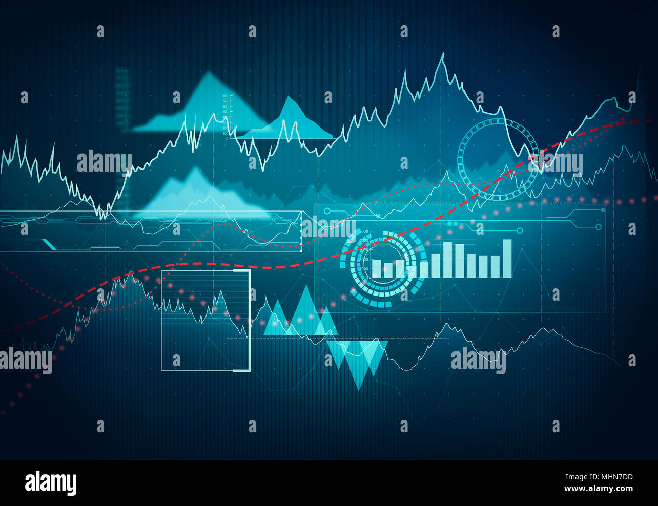 Abstract business chart with uptrend line graph bar chart and abstract business chart with uptrend line graph bar chart and diagram in bull market on dark blue background ccuart Choice Image