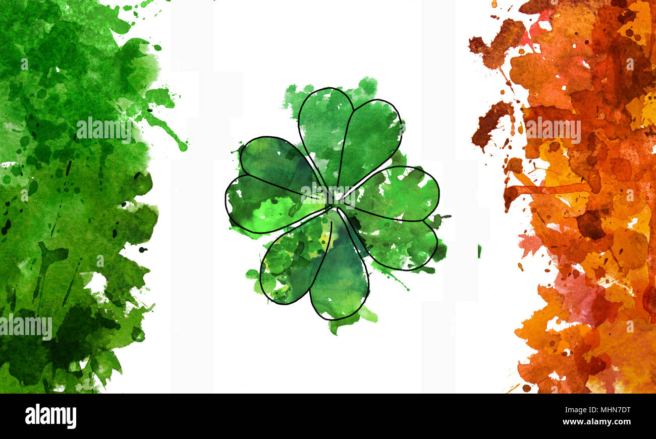 2d hand drawn illustration for St.Patrick's day. Green watercolor splash blot in shape of clover leaf. National colors of Ireland's flag. Isolated on  Stock Photo