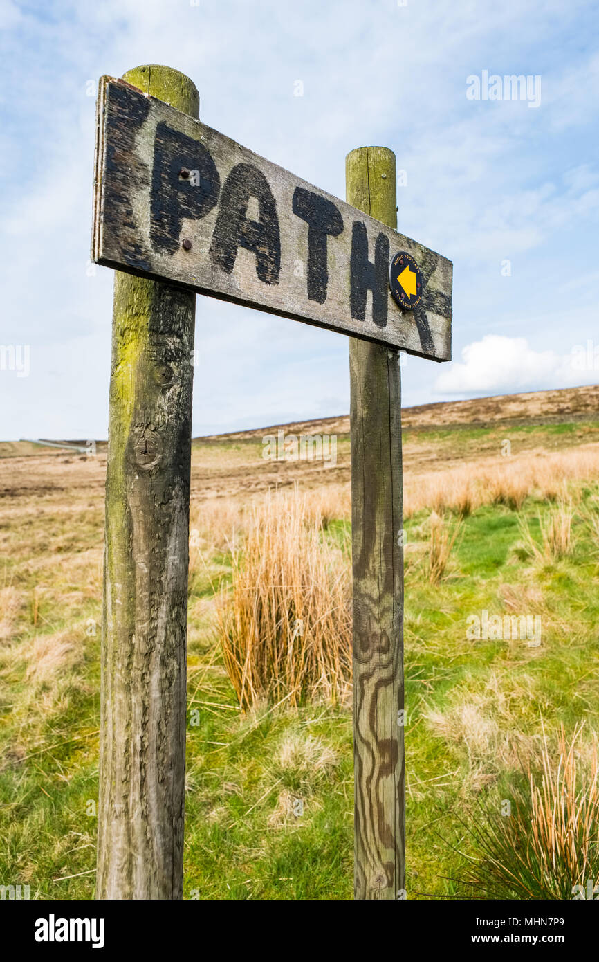 Hand painted 'path' sign , Peak District - Stock Image