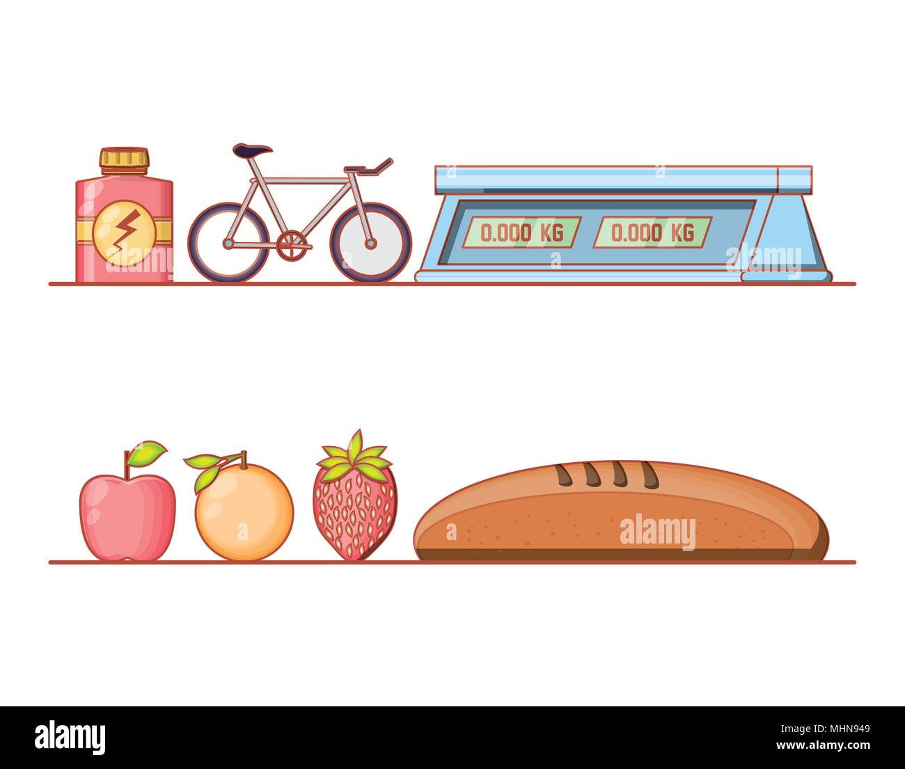 healthy lifestyle set icons vector illustration design - Stock Image