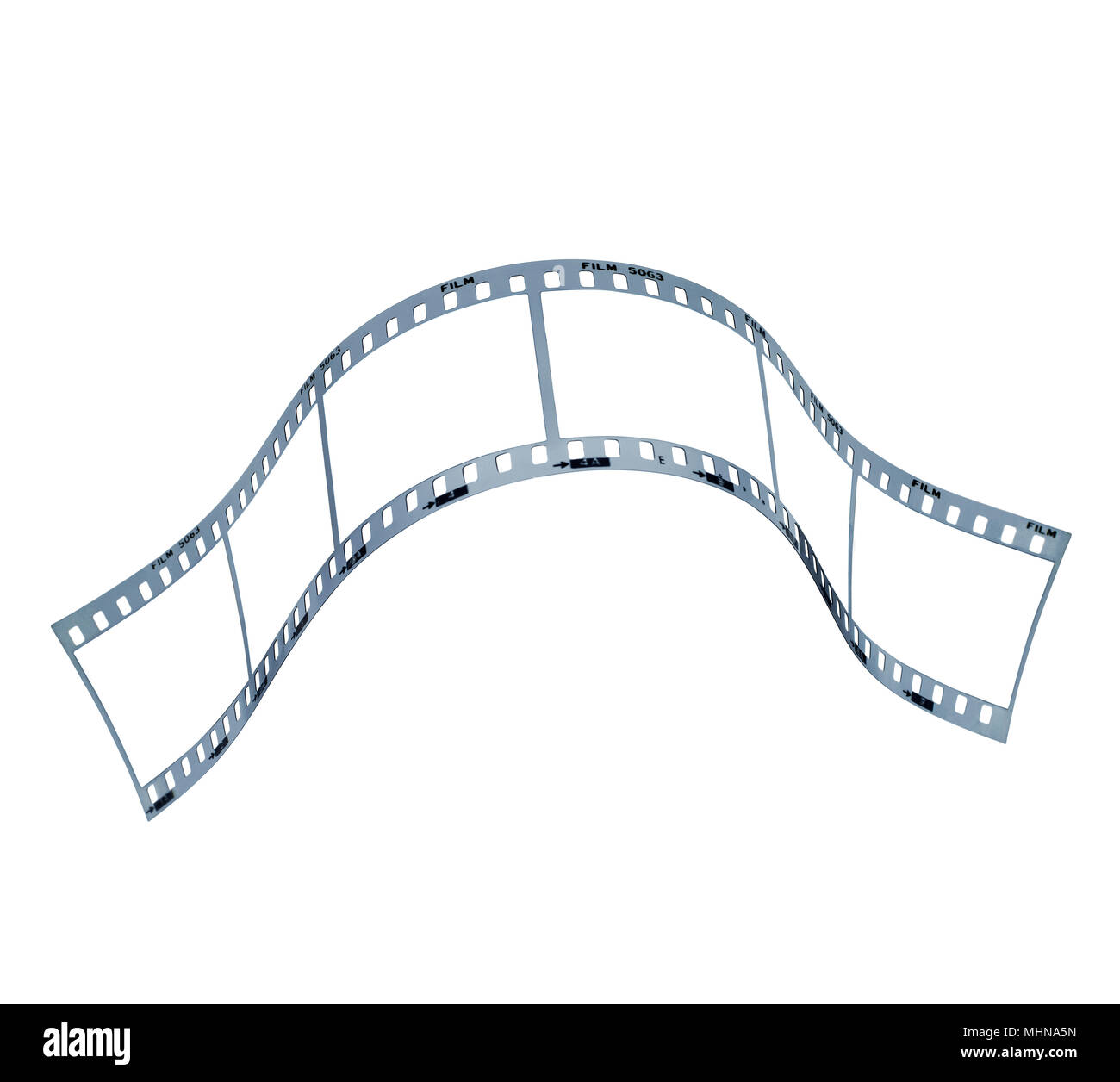 Film strip with space for images. Clipping path in exterior strip, inside frames and perforations - Stock Image