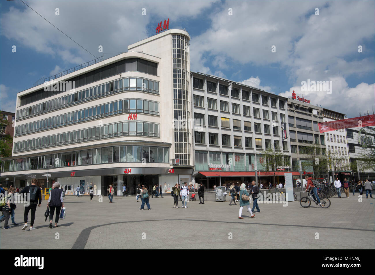 Kröpcke is part of pedestrianised central shopping area of Hanover, Germany. There are plenty of large department stores to chose from - Stock Image