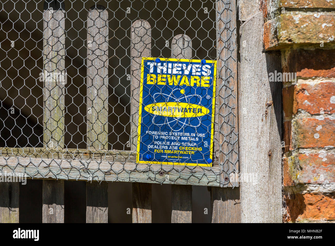 Thieves beware smartwater sign in a church. Suffolk, UK. - Stock Image