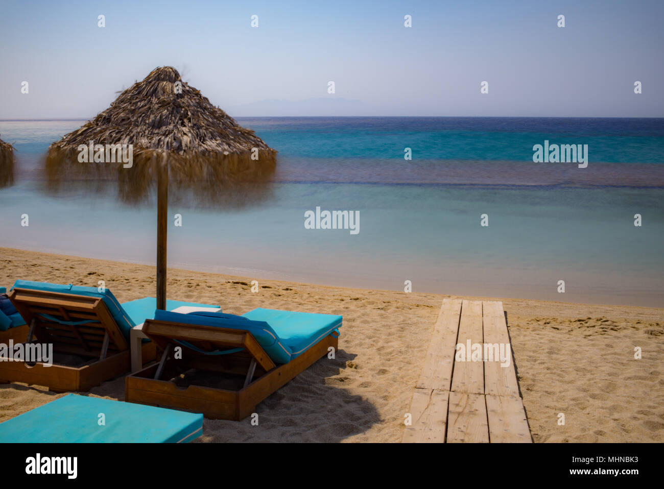 Greece blue beach holiday - Stock Image