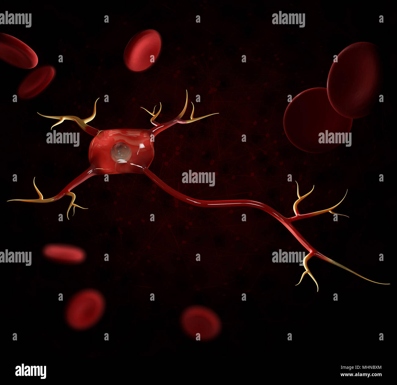 3d illustration of neuron cells with blood cells, high resolution 3D illustration - Stock Image