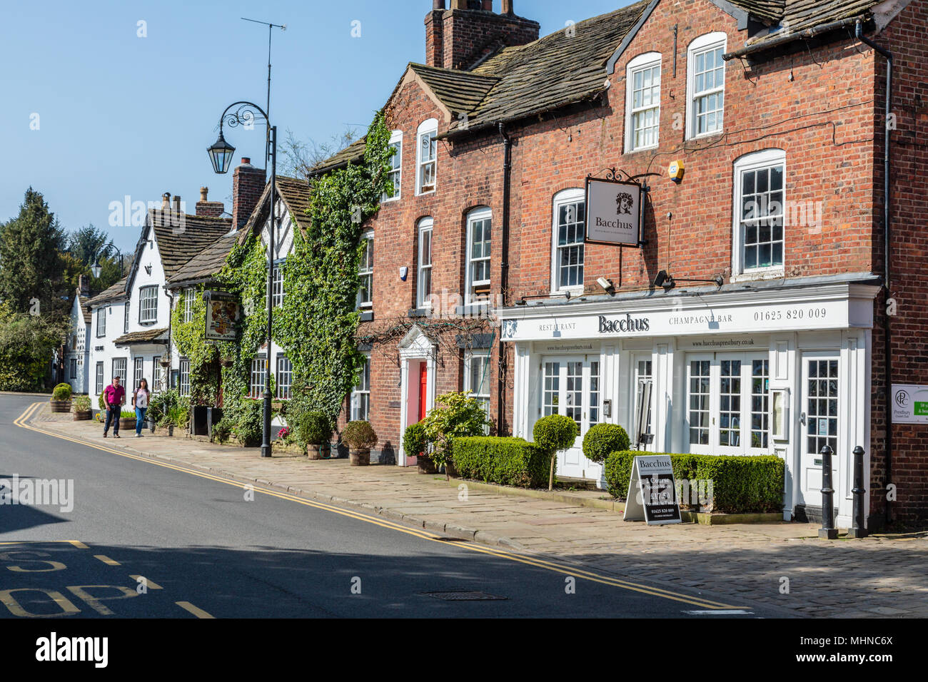 The Cheshire village of Prestbury famous for its historic buildings and footballers homes - Stock Image