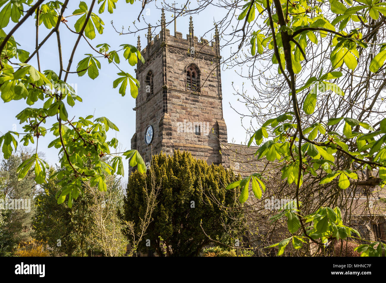 St Peters church in the centre of the historic village of Prestbury, Cheshire - Stock Image
