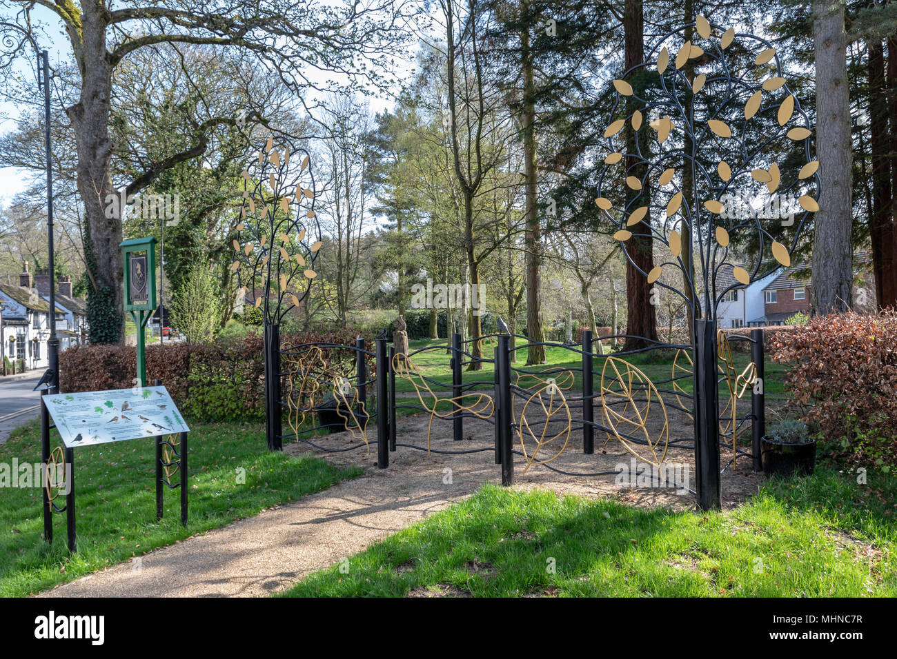 Prestbury Cheshire village green and open space - Stock Image