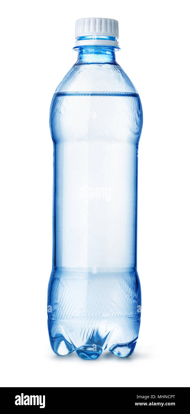 Front view of plastic water bottle isolated on white - Stock Image