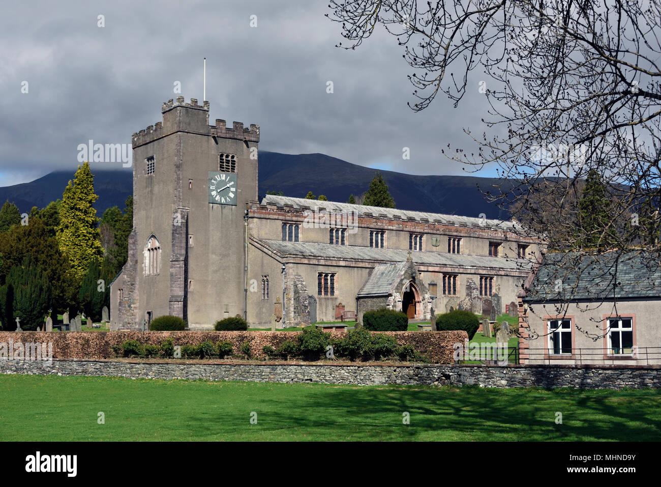 Parish Church of Saint Kentigern, Great Crosthwaite, Lake District National Park, Cumbria, England, United Kingdom, Europe. - Stock Image