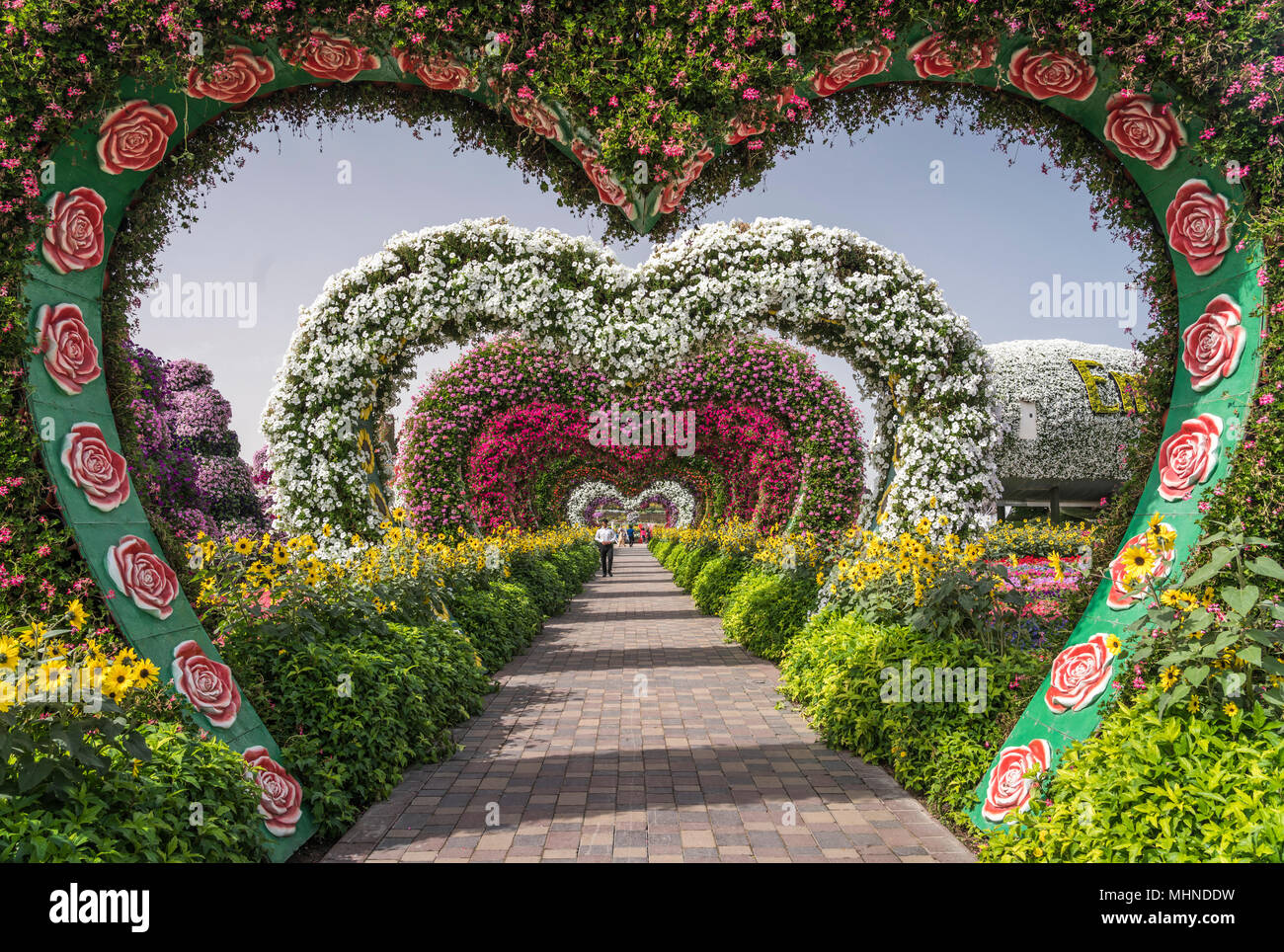 Heart shaped garden decor at the miracle gardens in dubai uae