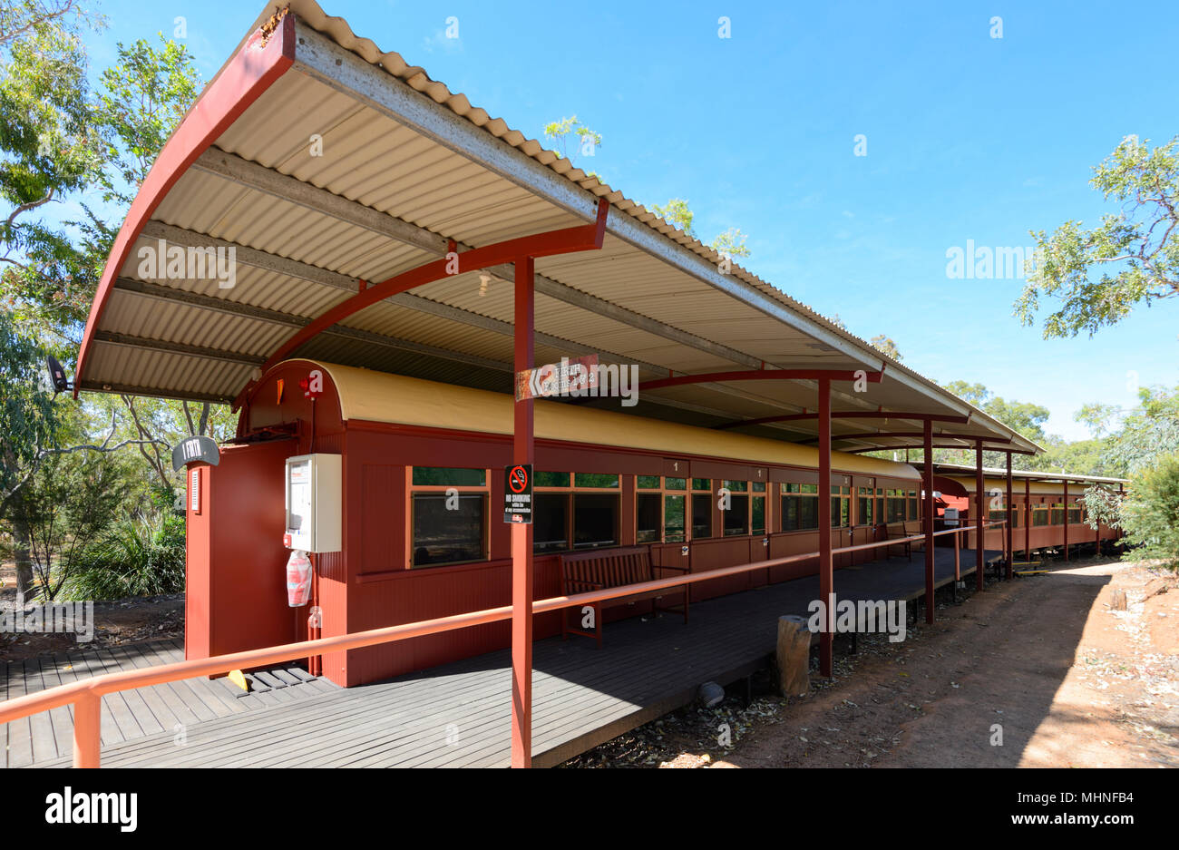 Accommodation in disused old train carriages, Undara Caravan Park, Undara Volcanic National Park, Queensland, QLD, Australia - Stock Image
