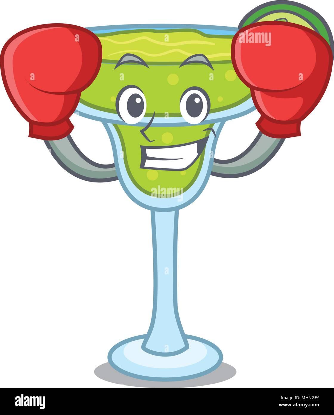 Boxing margarita character cartoon style vector illustration Stock