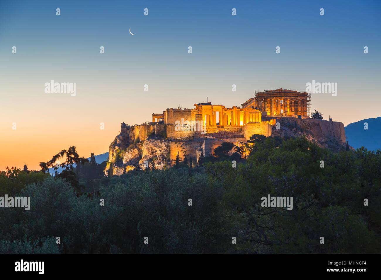 Sunrise over Parthenon, Acropolis of Athens, Greece Stock Photo