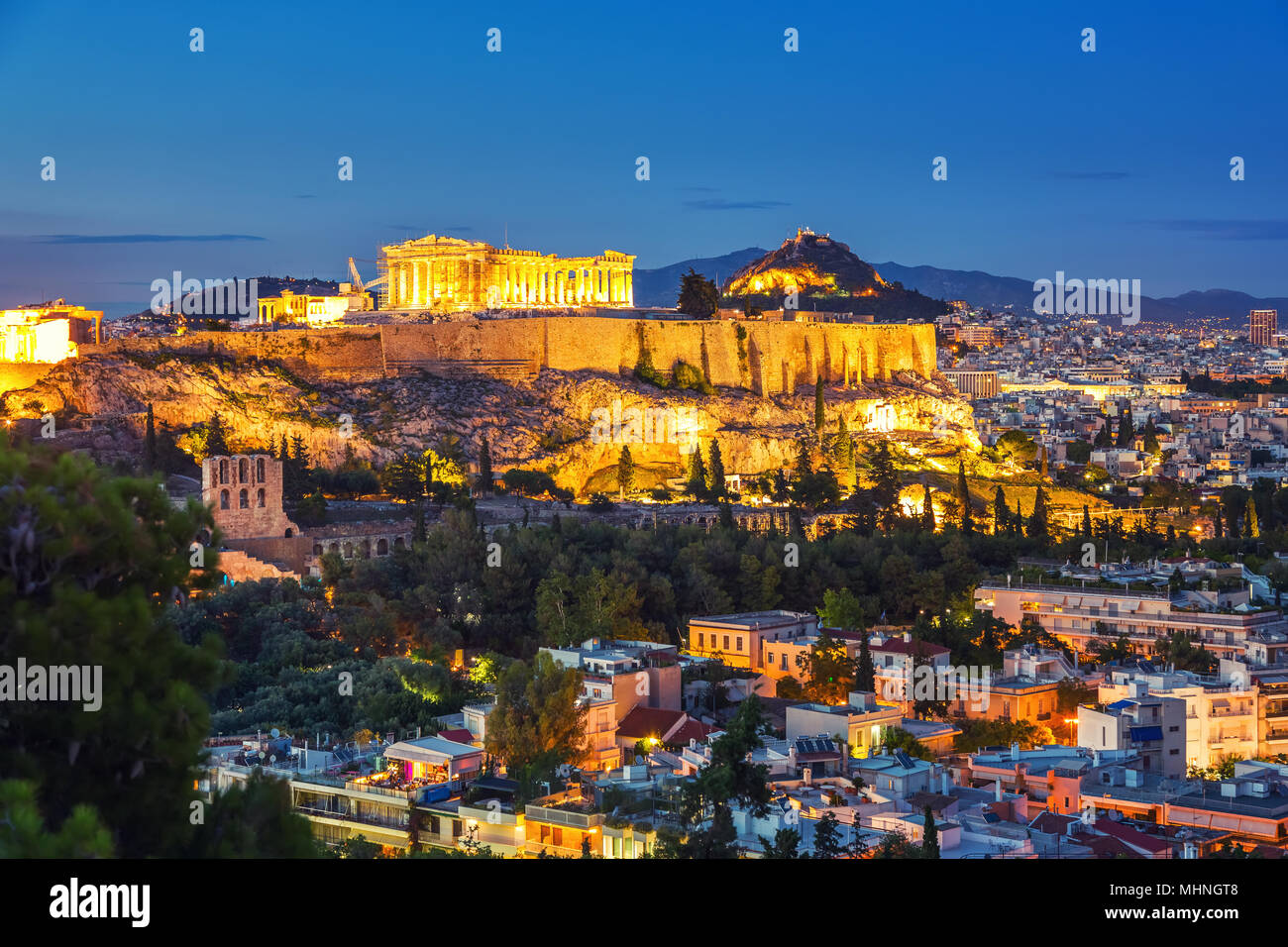 Parthenon, Acropolis of Athens, Greece at sunset - Stock Image