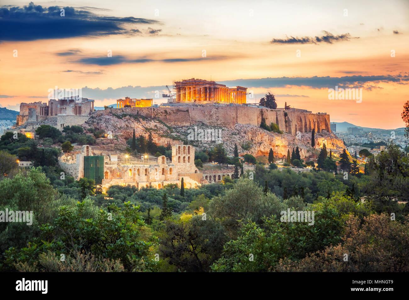 Parthenon, Acropolis of Athens, Greece at sunrise Stock Photo