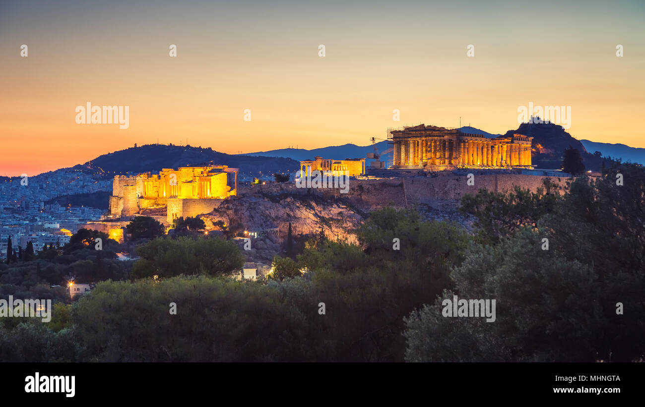 Acropolis of Athens, Greece at sunrise - Stock Image
