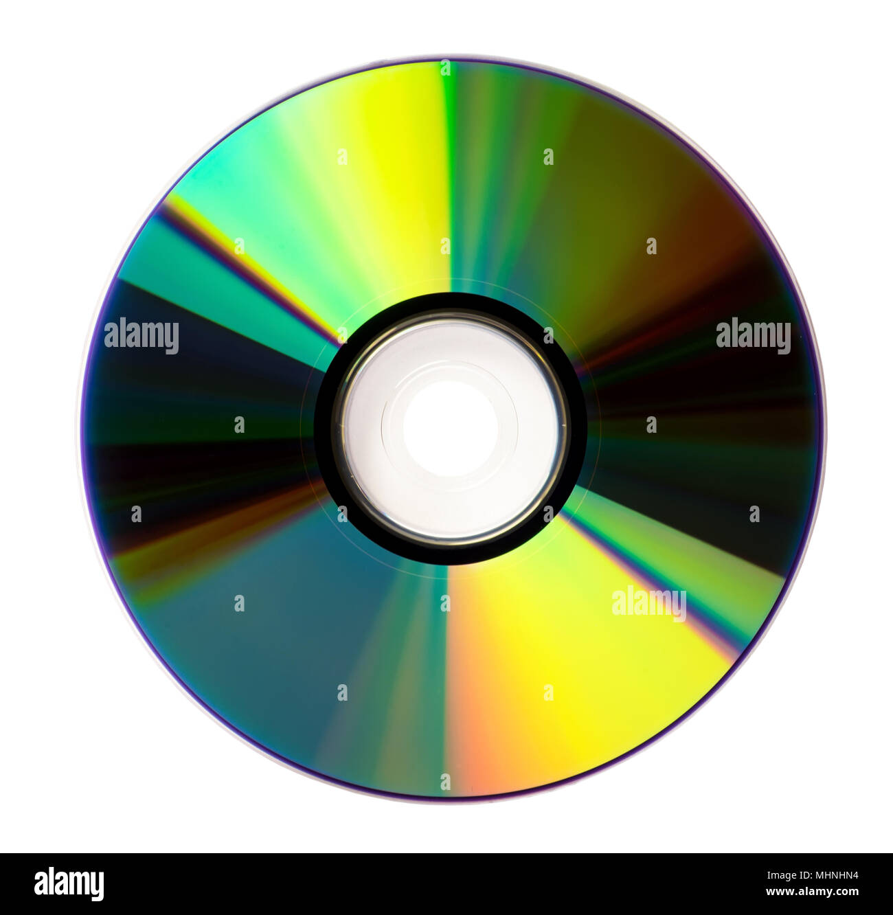Disk DVD CD on white background. Photography of a isolated dvd rom - Stock Image