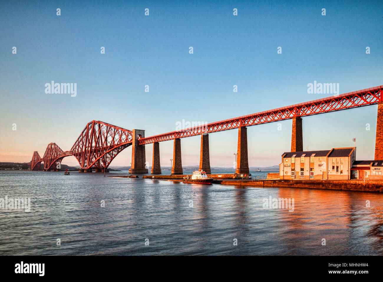 10 April 2016: Edinburgh, Scotland - Forth Rail bridge, Queensferry, Edinburgh, East Lothian, Scotland, UK, one of the most famous bridges in the worl - Stock Image