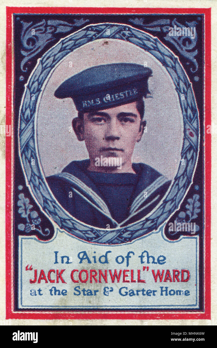 John Travers Cornwell charity stamp, sold to raise funds for the 'Jack Cornwell' ward at the Star & Garter home, Richmond, founded in 1916. The Victoria Cross was posthumously awarded to John Travers Cornwell (1900-1916) - for his gallantry at the Battle of Jutland. Cornwell was a Boy Seaman First Class on H.M.S Chester. H.M.S Chester was on the front lines at the Battle of Jutland and came under fire from four Kaiserliche Marine cruisers. John was the sole survivor of all the gun turret positions and remained at his position, though severely wounded, until the battle ended. He died in hos - Stock Image