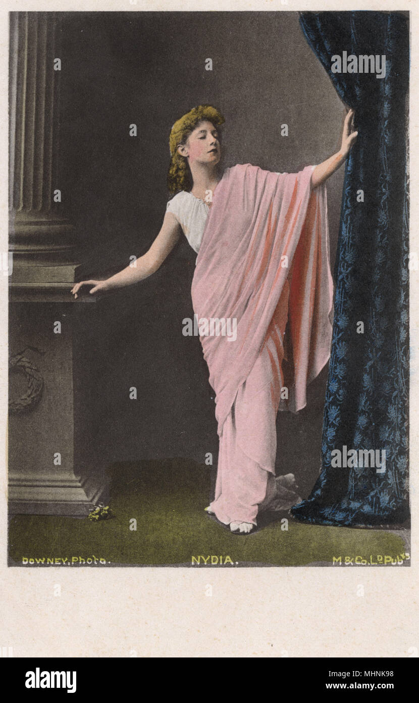 Henrietta Hodson (18411910) was an English actress and theatre manager who had a long affair with the journalist-turned-politician Henry Labouchere, later marrying him. Shown here as Nydia, the blind flower girl of Pompeii - a character from The Last Days of Pompeii, a novel written by Baron Edward Bulwer-Lytton in 1834.     Date: circa 1910s - Stock Image