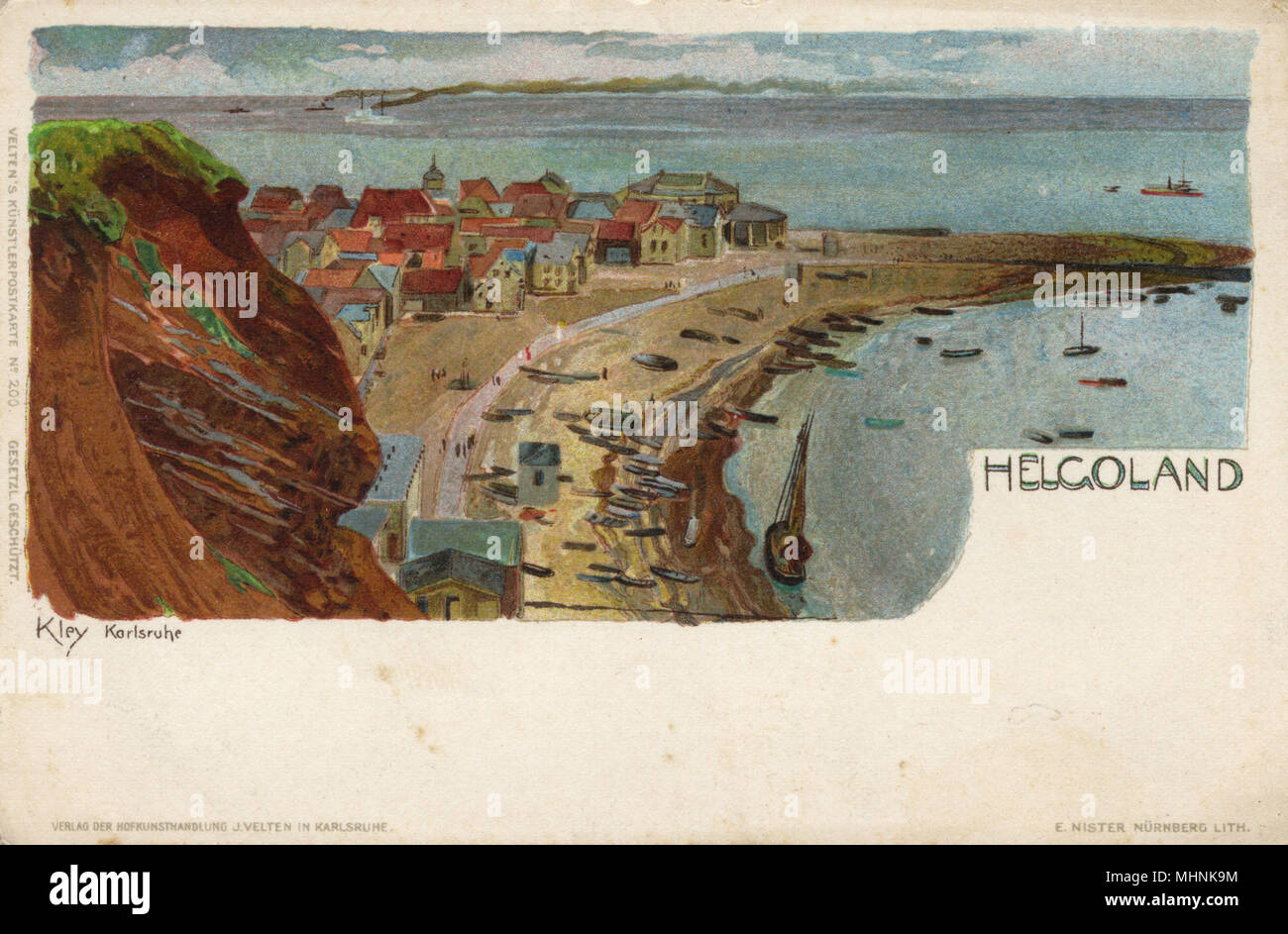 Boats drawn up on the beach on Helgoland (Heligoland) - a small German archipelago in the North Sea.     Date: circa 1903 - Stock Image