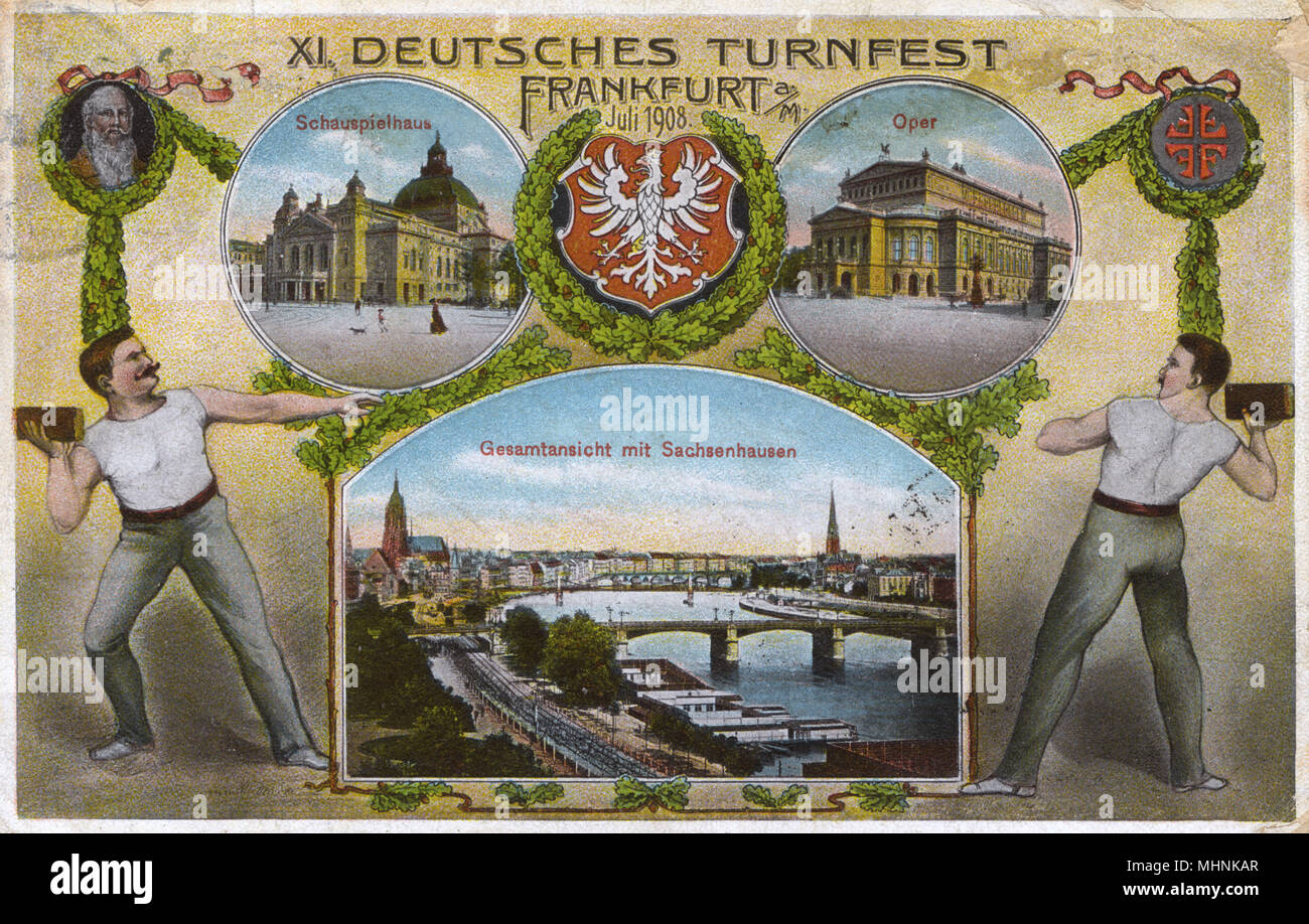 XI Deutsches Turnfest (11th German Gymnastics Festival) - Frankfurt, Germany - July 1908 - inset scenes of two brick throwers, The opera House, The theatre and a panoramic view featuring the Sachsenhausen district of the city.     Date: 1908 - Stock Image