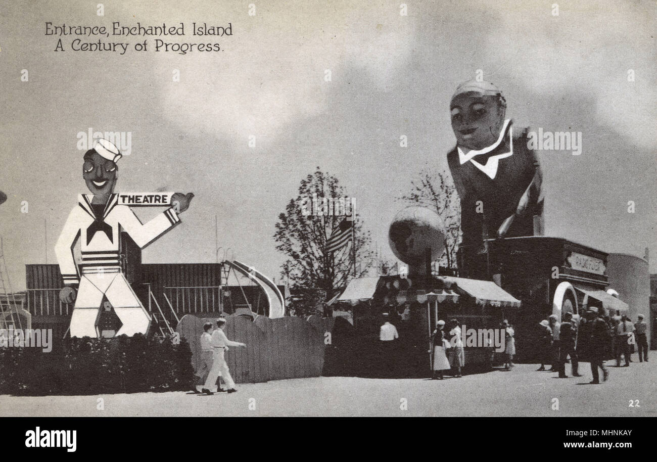 Entrance to 'Enchanted Island' - Chicago World's Fair 'A Century of Progress' - Chicago, Illinois.     Date: 1933 - Stock Image