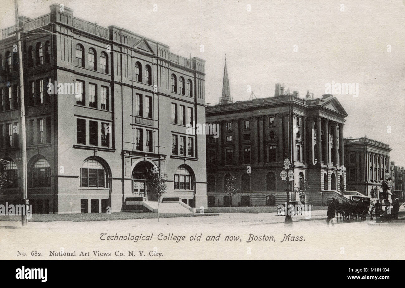 Technological College - Old and New - Boston, Massachusetts     Date: 1903 - Stock Image